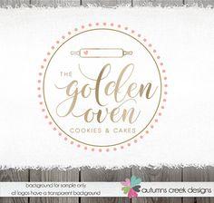 gold logo baking logo - bakery logo - premade logo -cake decorator- rolling pin - shop logo - premade logo design - logo for bakers logos