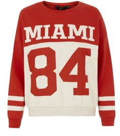 Teens Red Contrast Baseball Sweater
