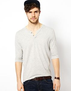 ASOS 3/4 Sleeve T-Shirt With Notch Neck