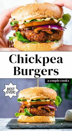 These chickpea burgers are a hugely satisfying plant-based dinner! Here they're painted with BBQ and served topped with vegan bacon and spicy mayo. Burger Recipes, Vegetarian Recipes, Healthy Recipes, Vegetarian Cooking, Easy Recipes, Vegan Chickpea Burger, Vegetarian Burgers, Veggie Burgers, Hamburgers