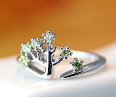 Fairytale Crystal Tree Ring Adjustable Open Ring Silver Plated Jewelry gift idea #New #Band