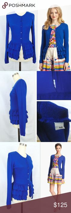 """RED VALENTINO Ruffle Peplum Cardigan Royal Blue M RED VALENTINO Ruffle Peplum Cardigan  Royal Blue Shade Cotton and Modal Blend Hand Wash or Dry Clean.  Excellent Used Condition No rips/holes/tears. No stains or fading Material is in great shape and feel soft. All button are there. Button holes show a bit of wear Clean and ready to wear Missing care tag, but was able to find online, nordstrom site.  Measurements (laid flat, unstretched) Shld-to-shld: 14"""" Chest 16.5"""" Length 23"""" Sleeves 25""""…"""