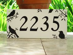 Your place to buy and sell all things handmade Tile House Numbers, White Porcelain Tile, Address Plaque, Tiles, Survival, Hand Painted, Cold, Handmade, Painting