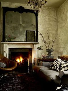 Textured walls.. dark colors..