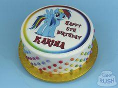Custom cakes made in Cheshunt Rainbow Dash Cake, Custom Cakes, How To Make Cake, Birthday Cake, Cupcakes, Desserts, Food, Personalized Cakes, Tailgate Desserts