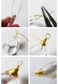 I have one of my Nanny & Poppy's old lamps I could definitely do this-Wire wrap a vintage chandelier crystal for a DIY pendant necklace