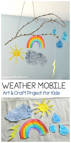 Weather Mobile Craft for Kids Using a Stick- Fun art project for your next weather unit, to hang in your art room, or near your calendar or circle time area! (Can even be done as a collaborative art project!) ~ BuggyandBuddy.com