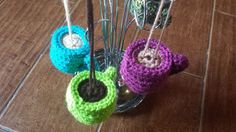 Crochet Coffee Cup Ornament Keychain Rearview by LilyLaneCrochet