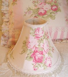 Pink roses on pink shabby chic lamp shade and matching pillow