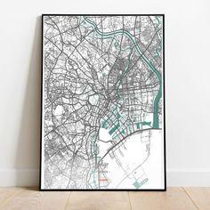 Tokio Money heist - Tokio mapa - Cartel de Tokio - Impresión Tokio - Mapa de la calle Tokio - Arte de pared Tokio Decorating Your Home, Instagram, Wall Art, Street, City, Frame, Artwork, Prints, Poster