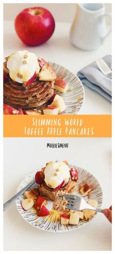 The fluffy pancakes doused in sticky toffee sauce were complimented by the sharpness of a juicy apple, therefore making this stack damn delicious. Oat Pancakes, Fluffy Pancakes, Slimming World Pancakes, Toffee Sauce, American Pancakes, Sticky Toffee, Group Meals, Food Menu, Cheese