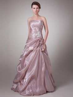Luxury Pink Tulle Strapless Mother of The Bride Dress. If youre looking for a Mother of the Bride dress thats highly fashionable and couture-inspired, look no further. This one surely delivers. It features a strapless bodice in a wrapped pattern and lovely jewel acce.. . See More Mother of the Bride Dresses at http://www.ourgreatshop.com/Mother-of-the-Bride-Dresses-C928.aspx
