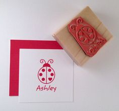 Personalized LadyBug Rubber Stamp by cupcaketree on Etsy, $10.50