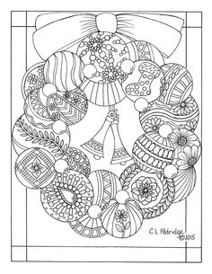 Trendy Book Page Wreath Adult Coloring Ideas Easter Coloring Pages, Printable Adult Coloring Pages, Christmas Coloring Pages, Coloring Book Pages, Coloring Pages For Kids, Coloring Sheets, Book Page Wreath, Christmas Drawing, Christmas Colors