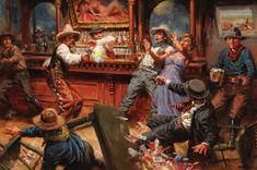 Andy Thomas western art | Andy Thomas Saloon Shootout