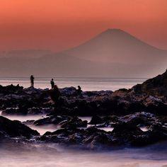 Sagami Bay and Mt.Fuji from Arasaki in Miura Peninsula (荒崎にて。相模湾と富士山)