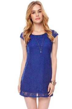 Laced with Flowers Dress in Royal Blue $25 at www.tobi.com