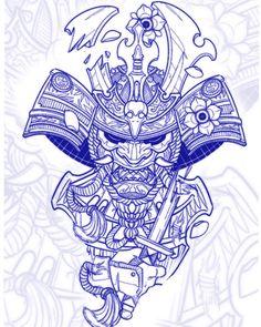 Japan Tattoo Design, Tattoo Design Drawings, Tattoo Sketches, Armband Tattoo Design, Tattoo Sleeve Designs, Sleeve Tattoos, Samurai Tattoo, Japanese Tattoo Art, Japanese Art