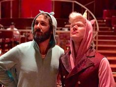 Josh Groban and Lucas Steele in onesies for  Halloween fight call