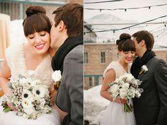 modern white black anemone white peony white hydrangea grey dusty miller silver brunia wedding bouquet gold glitter velvet ribbon bouquet wrap utah wedding flowers calie rose