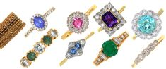 Bright gem rings in our Antique and Collectors Sales 02/10/19. We have much more jewellery to follow in our next 2 October sales...