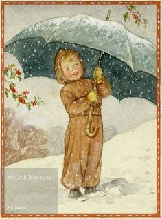 'Jolly Snowflakes' - child holding large umbrella in falling snow. Christmas card.