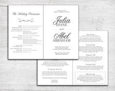 Folded Wedding Program For Jewish Marriage Ceremony Or Catholic Mass Order Of Service Bulletin