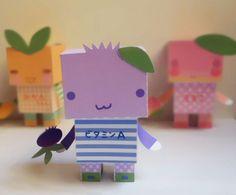 DIY  - Paper Toy Box  -Blueberry Vitamin A -PDF 300dpi digital file