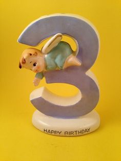 3rd Third Birthday Angel Figurine Cake Topper Candle Holder Norcrest for CHARITY (04/08/2016)