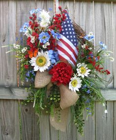 Rustic Patriotic American Flag Sunflower Wildflowers Wreath, XXL, 4th of July, Summer, red white blue, burlap ribbon, Wild Daisy, hydrangea on Etsy, $145.00