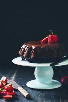 banana almond chocolate cake with cappuccino ganache