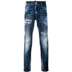 Dsquared2 Distressed Slim-fit Jeans (€280) ❤ liked on Polyvore featuring men's fashion, men's clothing, men's jeans, men's paint splatter jeans, mens destroyed jeans, mens slim fit ripped jeans, mens stretch jeans and mens faded jeans