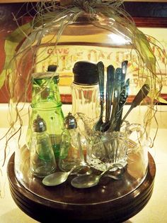 "DECORATING:  A Cloche ~ What a lovely way to display a nice set of salt & pepper shakers, & other ""needfuls"" one might want to keep on the dining table!  So elegant!!"