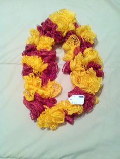 Red and Yellow Infinity Ruffle Scarf by HopkinsHomemadeTrea on Etsy