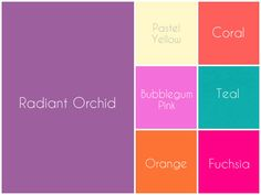 Brighten it up by color blocking radiant orchid (Pantone Color of the year with: ✮ Pastel Yellow ✮ Bubblegum Pink ✮ Orange ✮ Coral ✮ Fuchsia ✮ Teal Colour Pallete, Color Combos, Color Schemes, Color Palettes, Color Of Life, Color Of The Year, Orchid Color, Dining Room Colors, Favorite Paint Colors