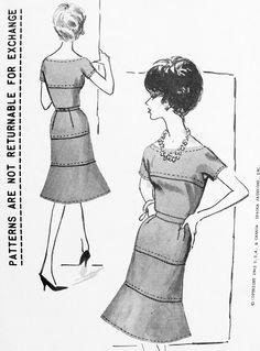 1960s STUNNING Cocktail Dinner Dress Pattern DUCHESS of Windsor Spadea 27 Trumpet Hemline Bateau Neckline Party Dress Bust 34 Vintage Sewing Pattern FACTORY FOLDED