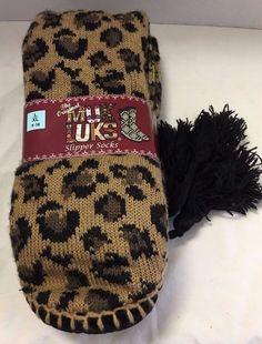 Muk Luks Slipper Socks Brown Animal Print Women's Size L/XL 9-10 NEW #MukLuks #SlipperBedSocks