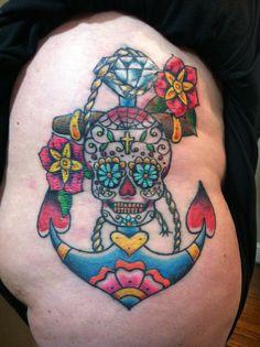 Sugar skull diamond anchor with flowers