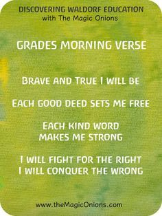 Waldorf Morning Verses for the Grades