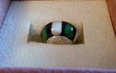 Green White Glass Charm Bead 925 Threaded on Etsy, $1.75