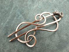 Haarspange Kupfer wire workcopper von KlimmBimm auf Etsy