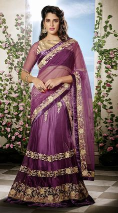 Purple Net Velvet Border Designer Lehenga Choli With Dupatta