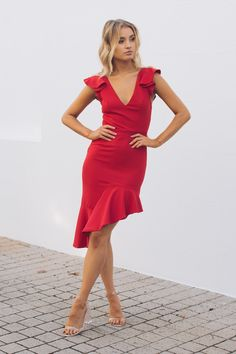 Esther Boutique, Hey Gorgeous, Red Media, Stretch Fabric, Passion For Fashion, Hemline, Outfit Of The Day, Dress Red, Formal Dresses