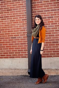 Styling a maxi dress for colder weather -- maybe I can try to rock my maxi skirt like this?