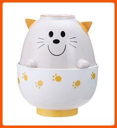 Sun Art Animal white cat Japanese rice and soup bowl SAN1950A from Japan - Fun stuff and gift ideas (*Amazon Partner-Link)