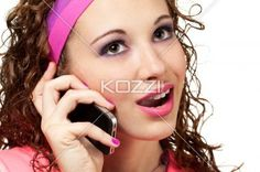 girl in retro clothing on cell phone - Retro clothed lady speaks on mobile phone. Makeup by Irene Prowell - professional freelance makeup artist.