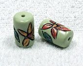 Handmade Polymer Clay Tube Beads - Scribed Flowers and Leaves
