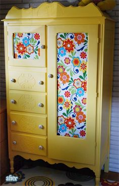 Have an armoire just like this, and had mirror on small door, with fabric gathered on small rods inside long door.  Am going to redo somehow to use as a bathroom cabinet.