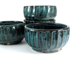 Pottery Snack Bowl Set - Four Snack Bowls in Teal Blue - 8 ounce - Dessert Bowls - Ice Cream Bowls by LaPellaPottery via Etsy.