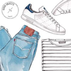 Good objects - Back to basics Adidas Stan Smith + denim + stripes #goodobjects #illustration